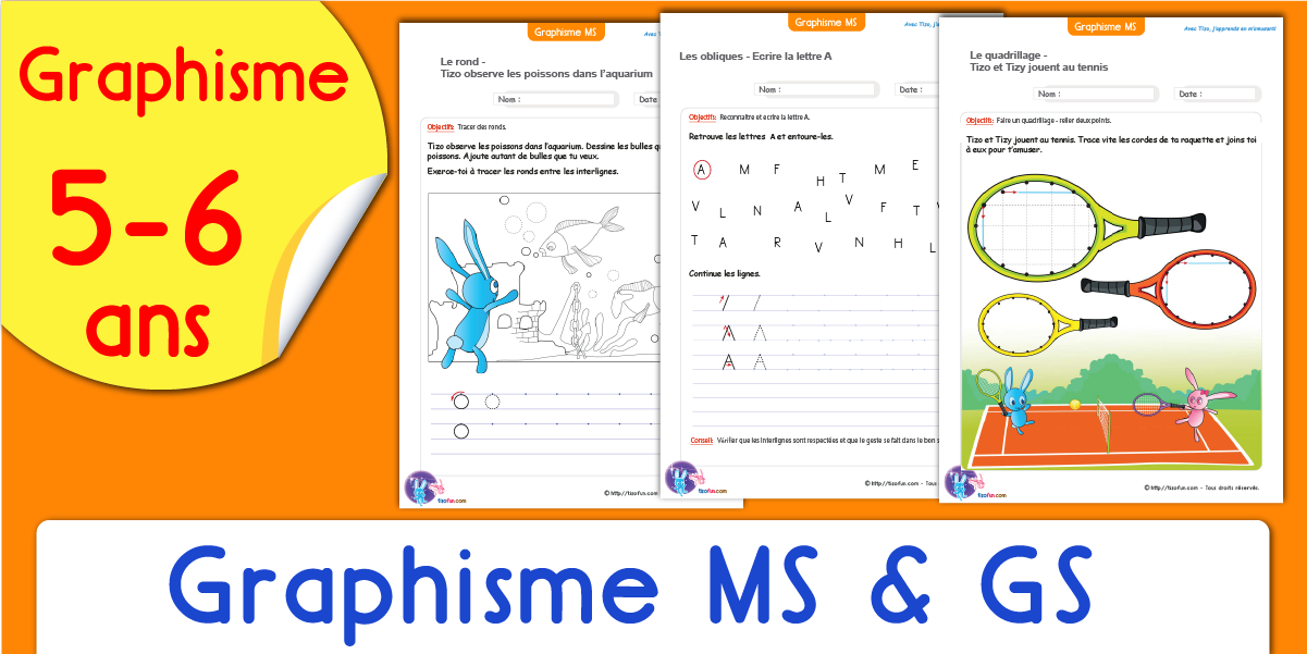 Remarquable Graphisme Moyenne & Grande Section | Fiches Maternelle GS MS ZQ-12